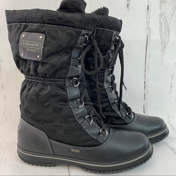 Coach Shaine Black Insulated Winter Snow Boots EUC